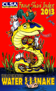 Cartoon illustration of Chinese astrological water snake